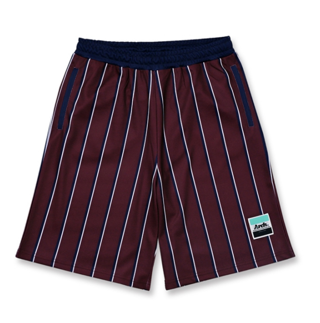 Arch trad stripe shorts 【burgundy】のイメージ